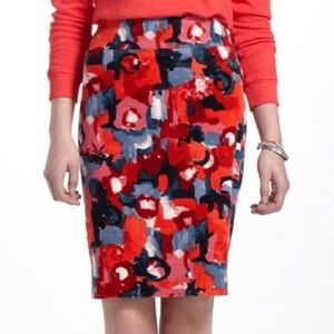 Anthro Vanessa Virginia Red Floral Corduroy Skirt